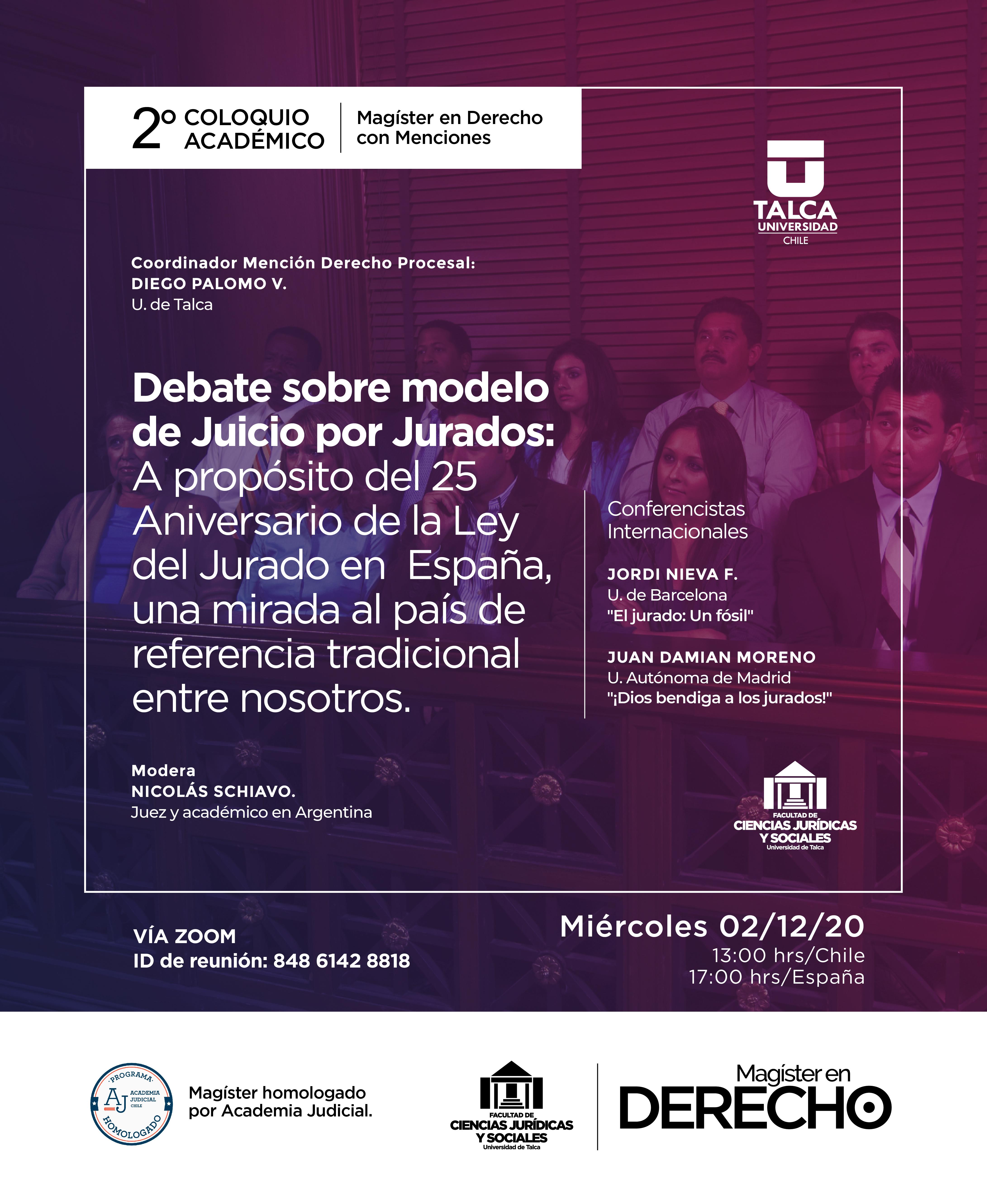 COLOQUIO, DEBATE SOBRE MODELO DE JUICIOS POR JURADOS