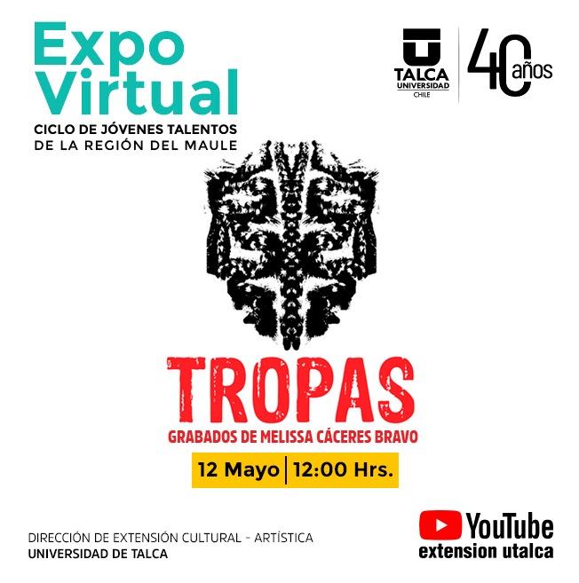 Expo Virtual, Tropas. Grabados de Melissa Cáceres Bravo